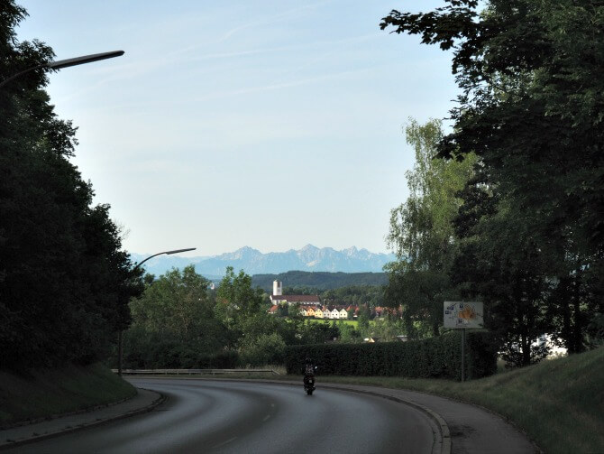 View of the Alps in Kaufbeuren