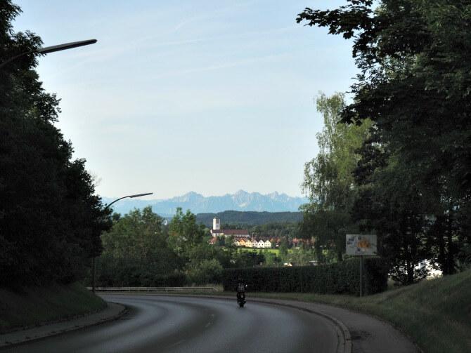 View of the Alps in Kaufbeuren