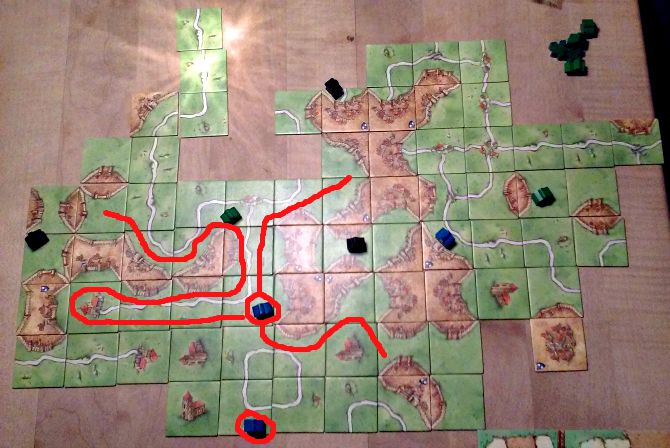 Carcassone with 9 farms