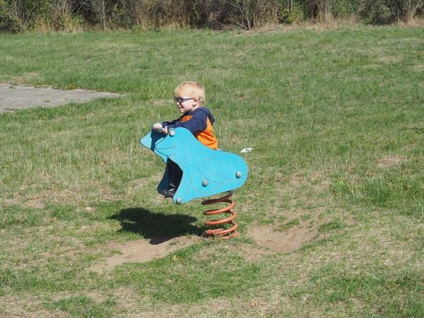 Herbert on a bouncy frog.